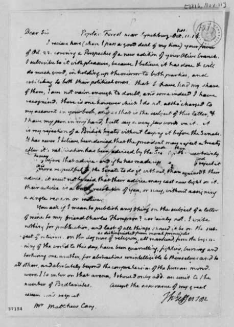 Thomas Jefferson to Matthew Carey, November 11, 1816
