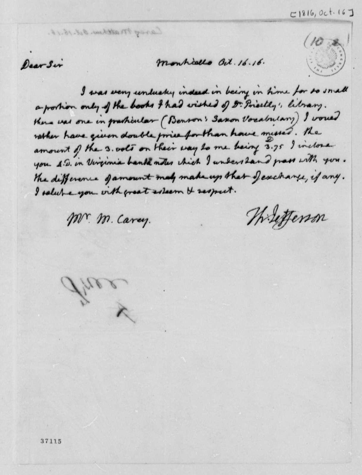 Thomas Jefferson to Matthew Carey, October 16, 1816