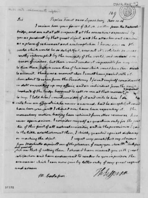 Thomas Jefferson to Maximilian Godefroi, November 11, 1816