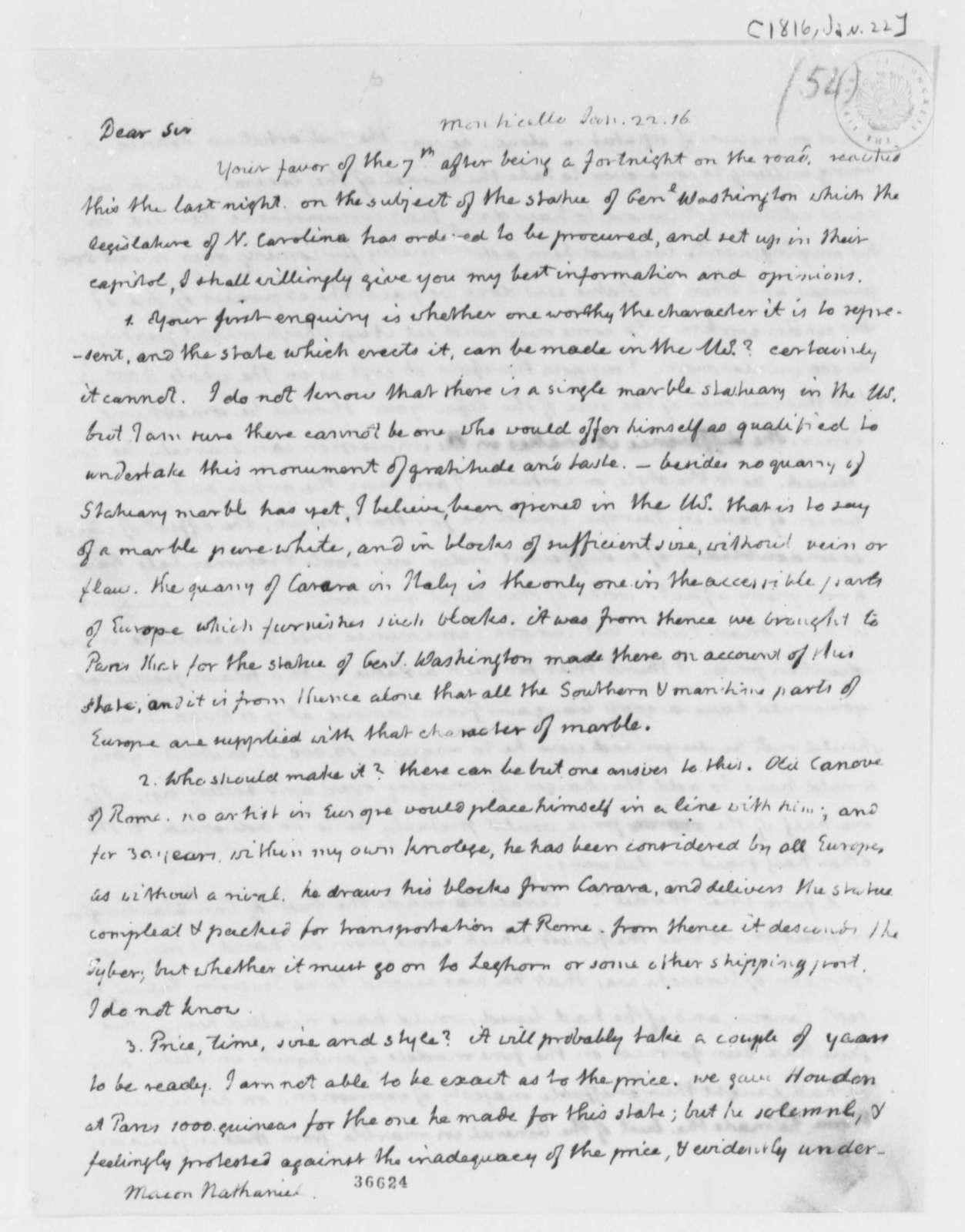 Thomas Jefferson to Nathaniel Macon, January 22, 1816