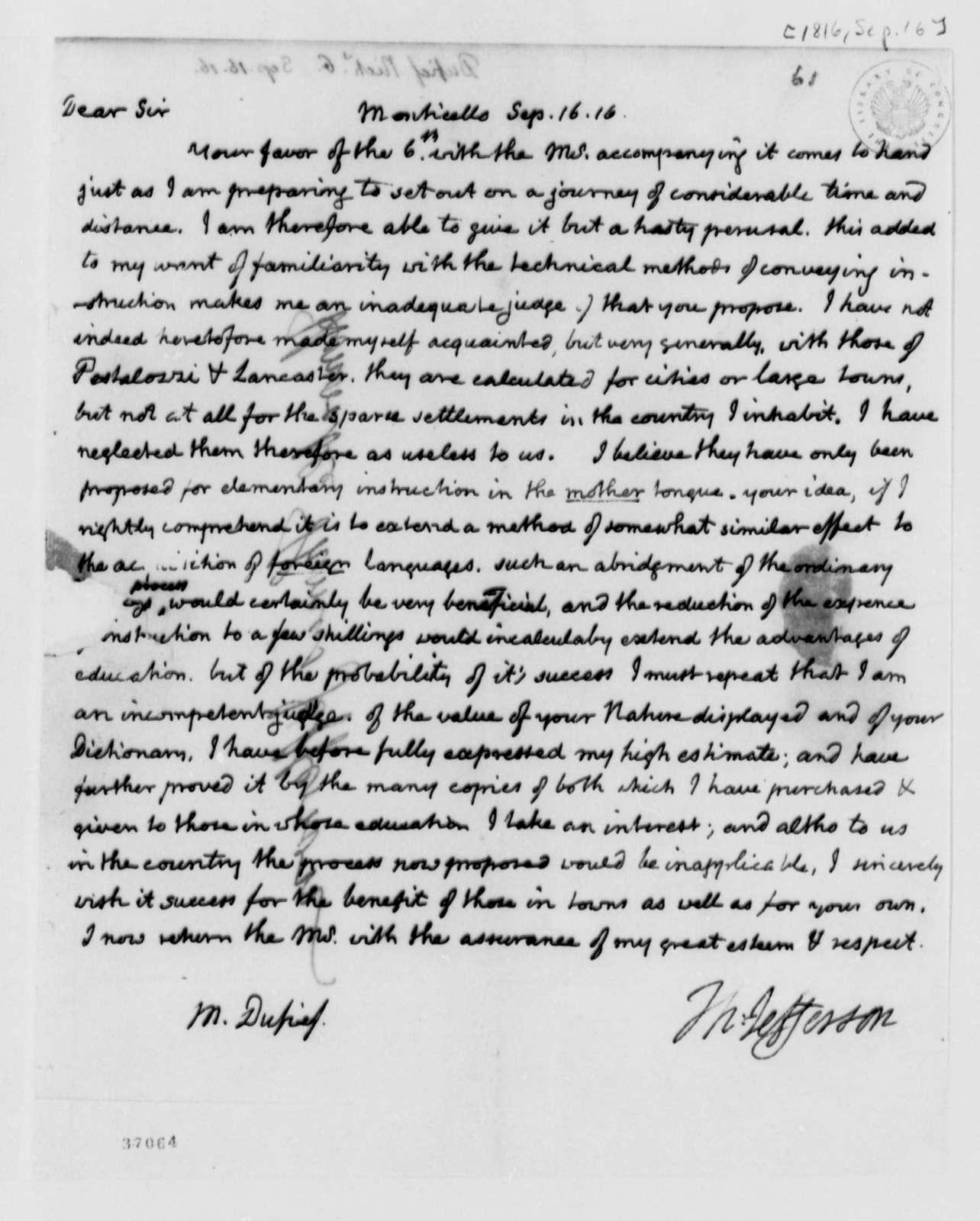 Thomas Jefferson to Nicholas Gouin Dufief, September 16, 1816