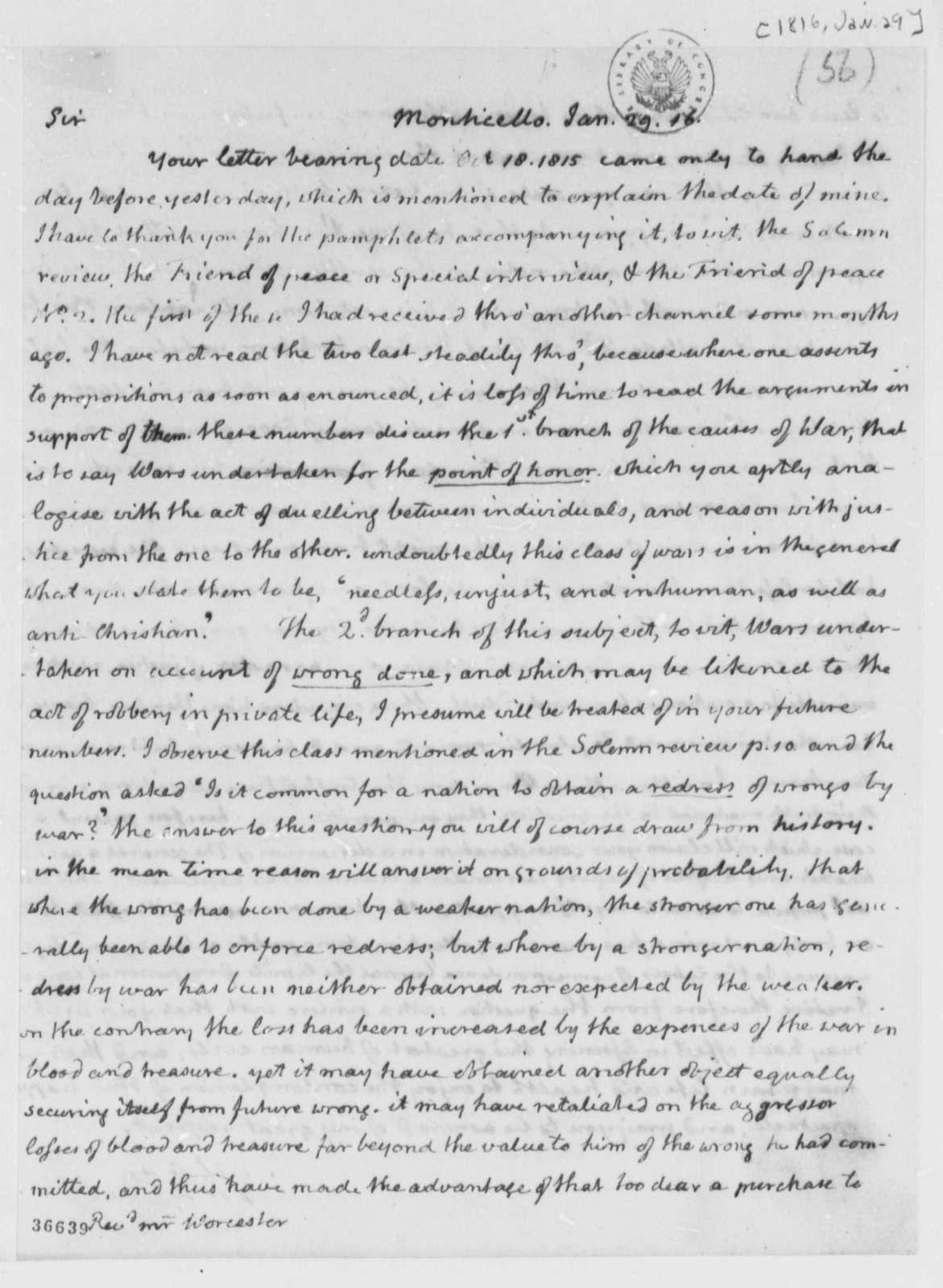 Thomas Jefferson to Noah Worcester, January 29, 1816