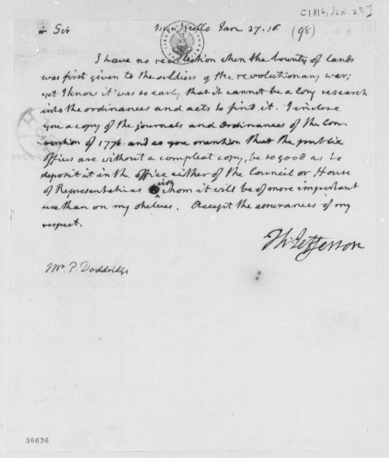 Thomas Jefferson to P. Doddridge, January 27, 1816