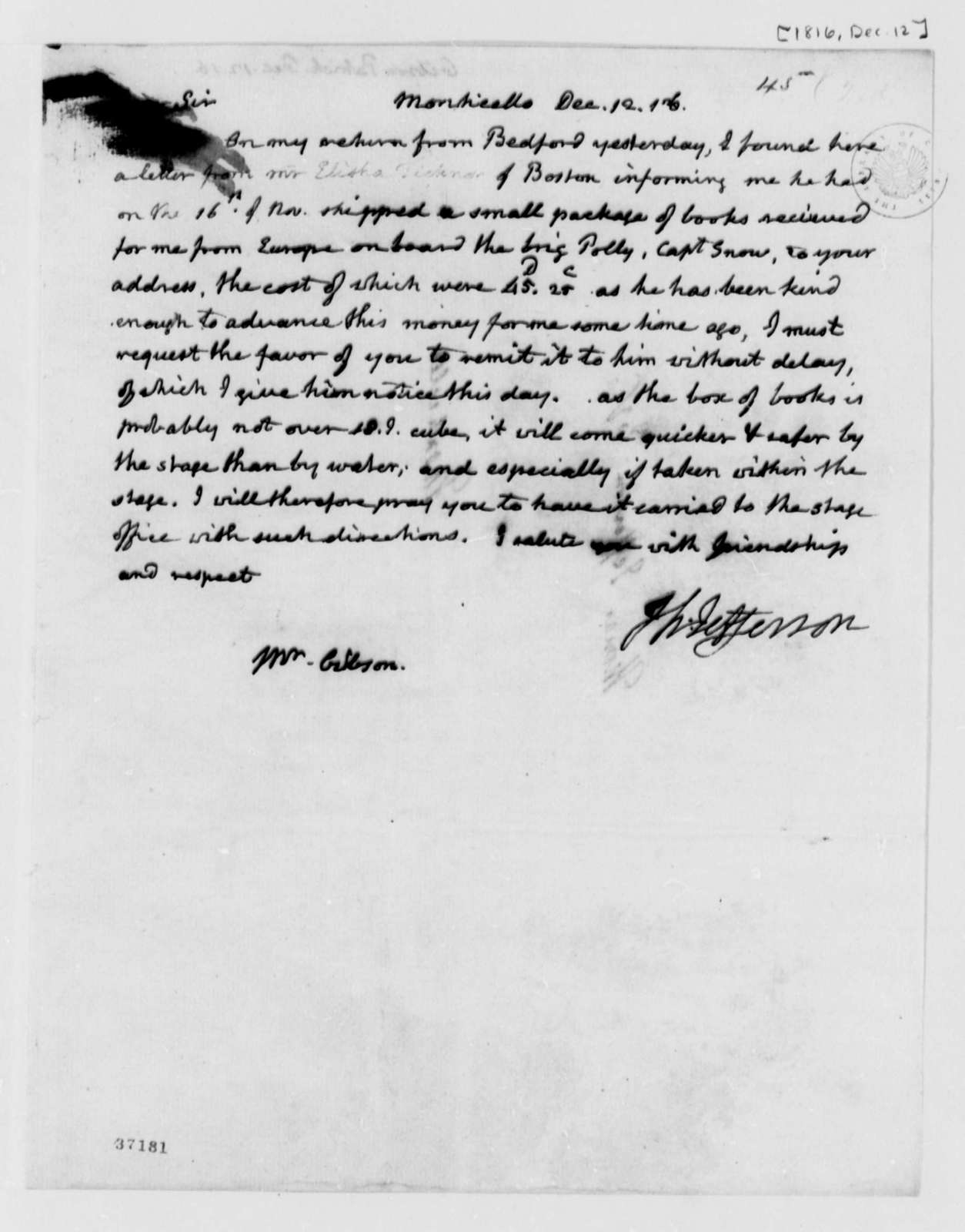 Thomas Jefferson to Patrick Gibson, December 12, 1816
