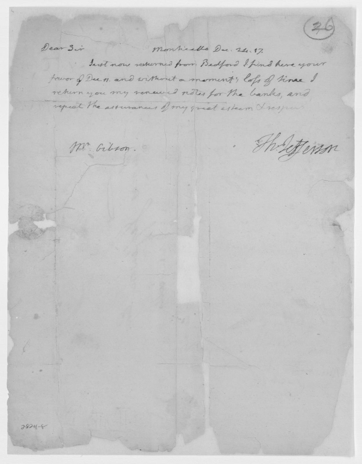 Thomas Jefferson to Patrick Gibson, December 24, 1816