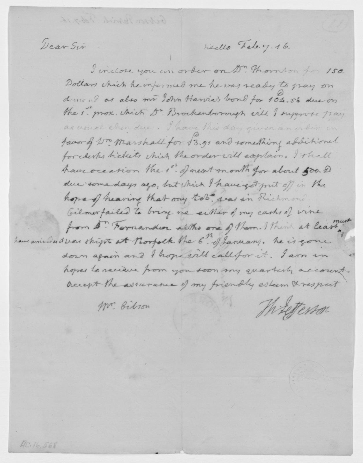 Thomas Jefferson to Patrick Gibson, February 7, 1816
