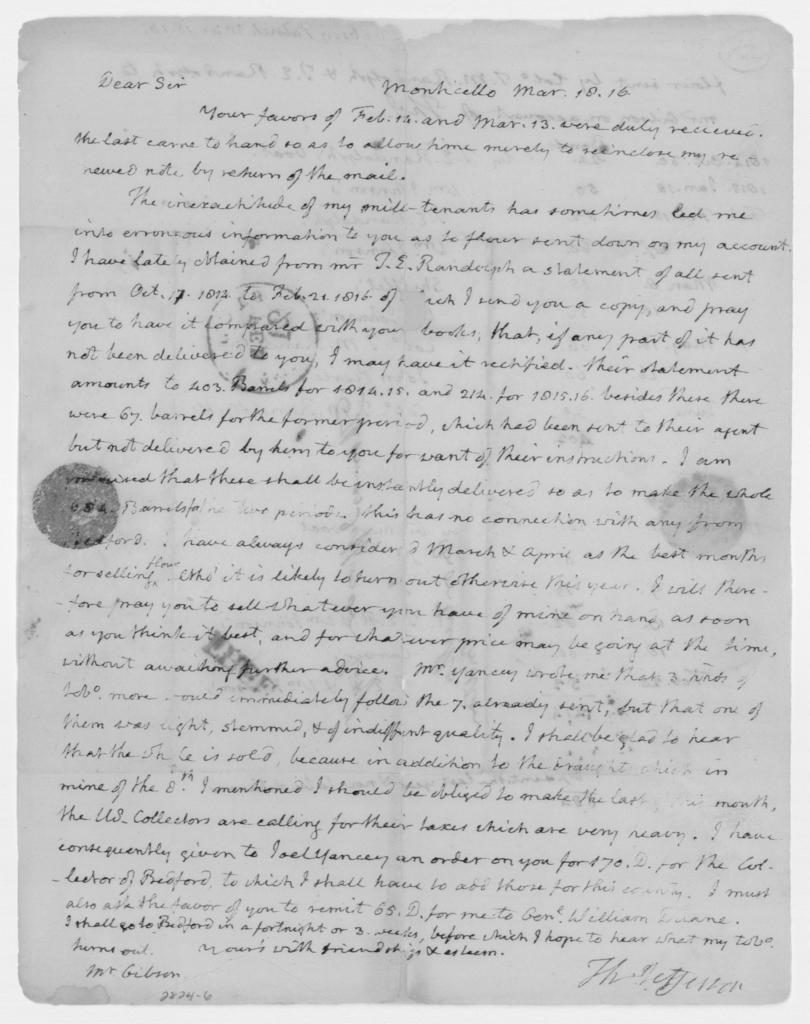 Thomas Jefferson to Patrick Gibson, March 18, 1816