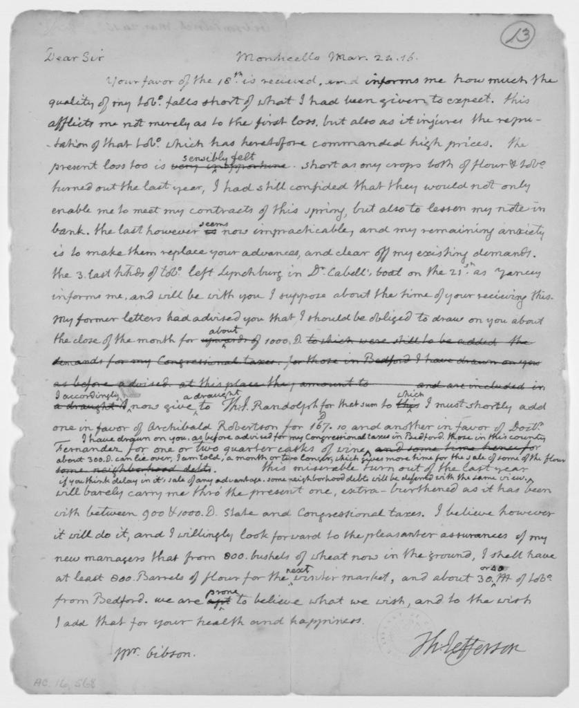 Thomas Jefferson to Patrick Gibson, March 24, 1816
