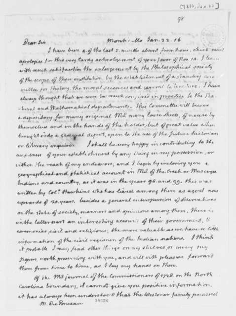 Thomas Jefferson to Peter S. du Ponceau, January 22, 1816