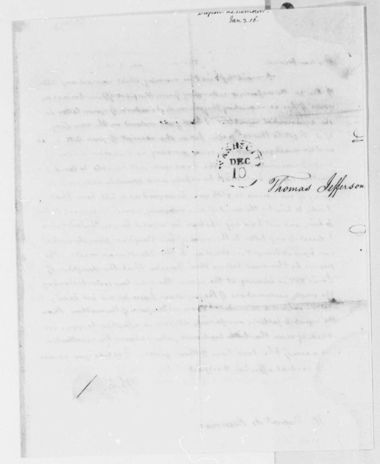 Thomas Jefferson to Pierre S. Dupont de Nemours, January 3, 1816
