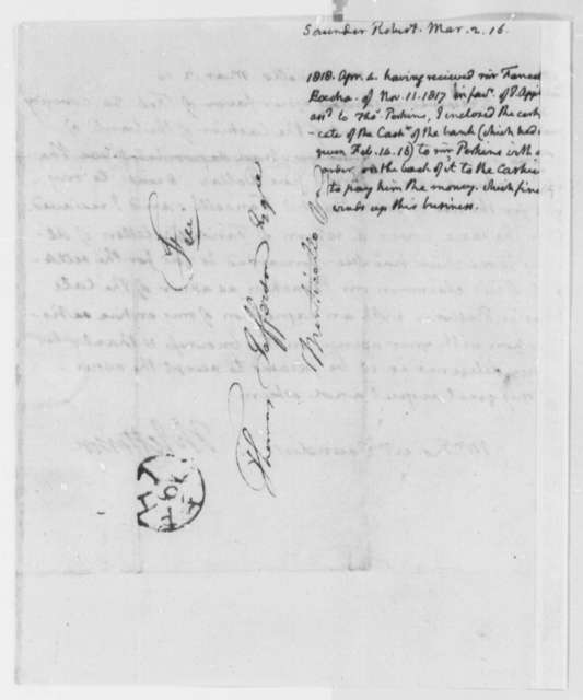 Thomas Jefferson to Robert Saunders, March 2, 1816, with Thomas Jefferson Note