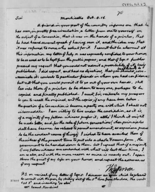 Thomas Jefferson to Samuel Kercheval, October 8, 1816