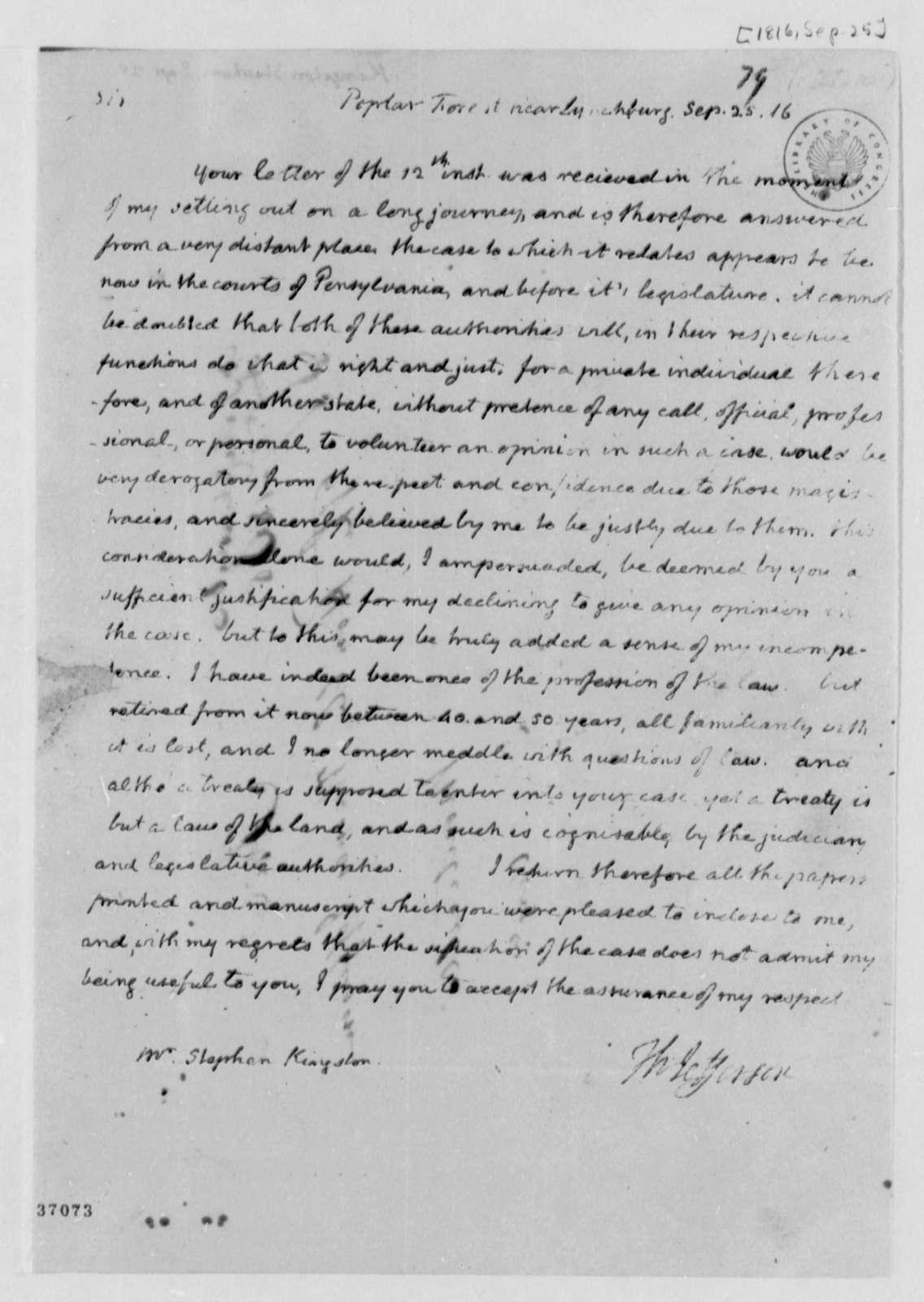 Thomas Jefferson to Stephen Kingston, September 25, 1816