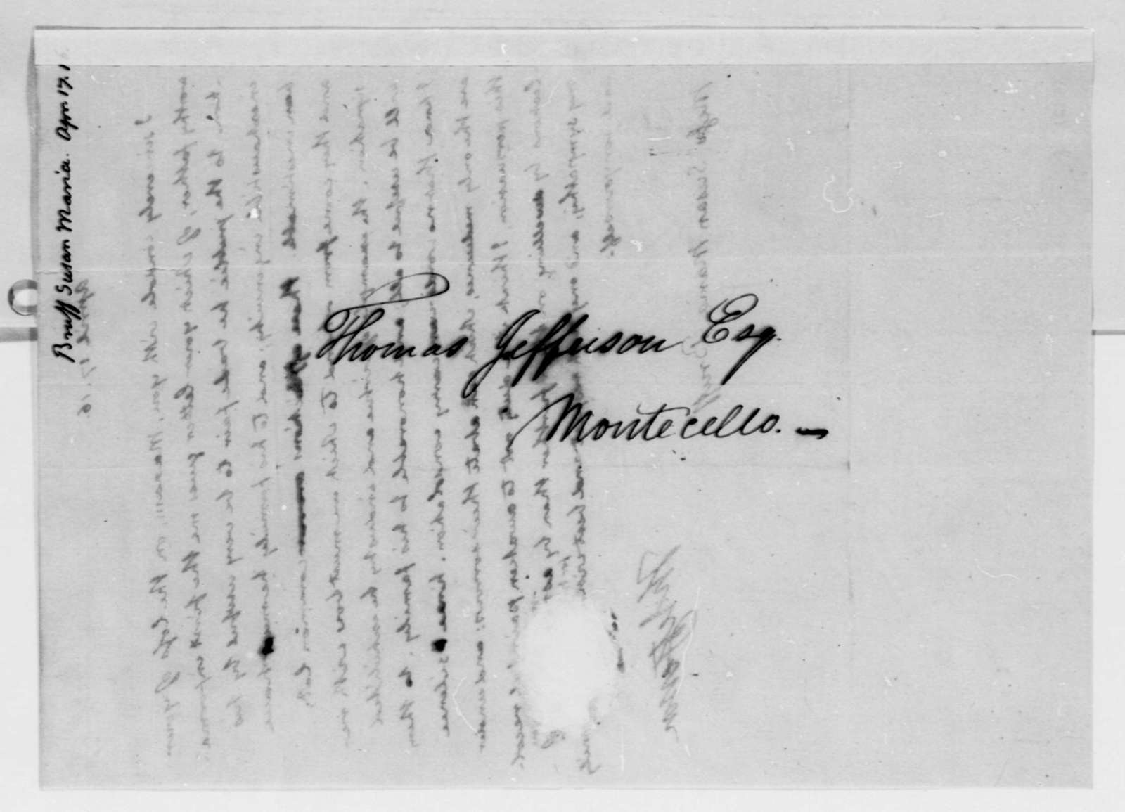 Thomas Jefferson to Susan Maria Bruff, April 17, 1816, with Copy