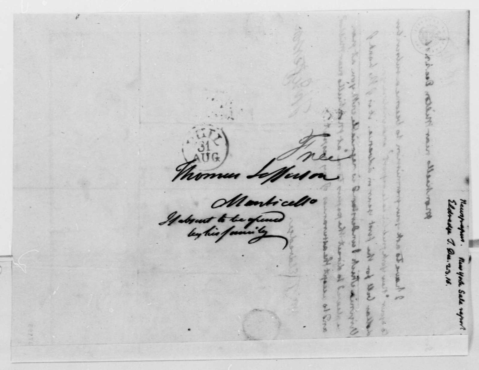 Thomas Jefferson to T. Eldredge, December 23, 1816