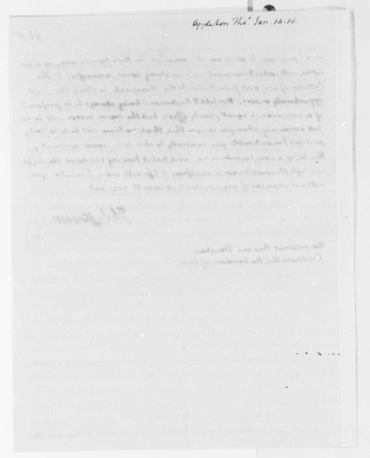 Thomas Jefferson to Thomas Appleton, January 14, 1816
