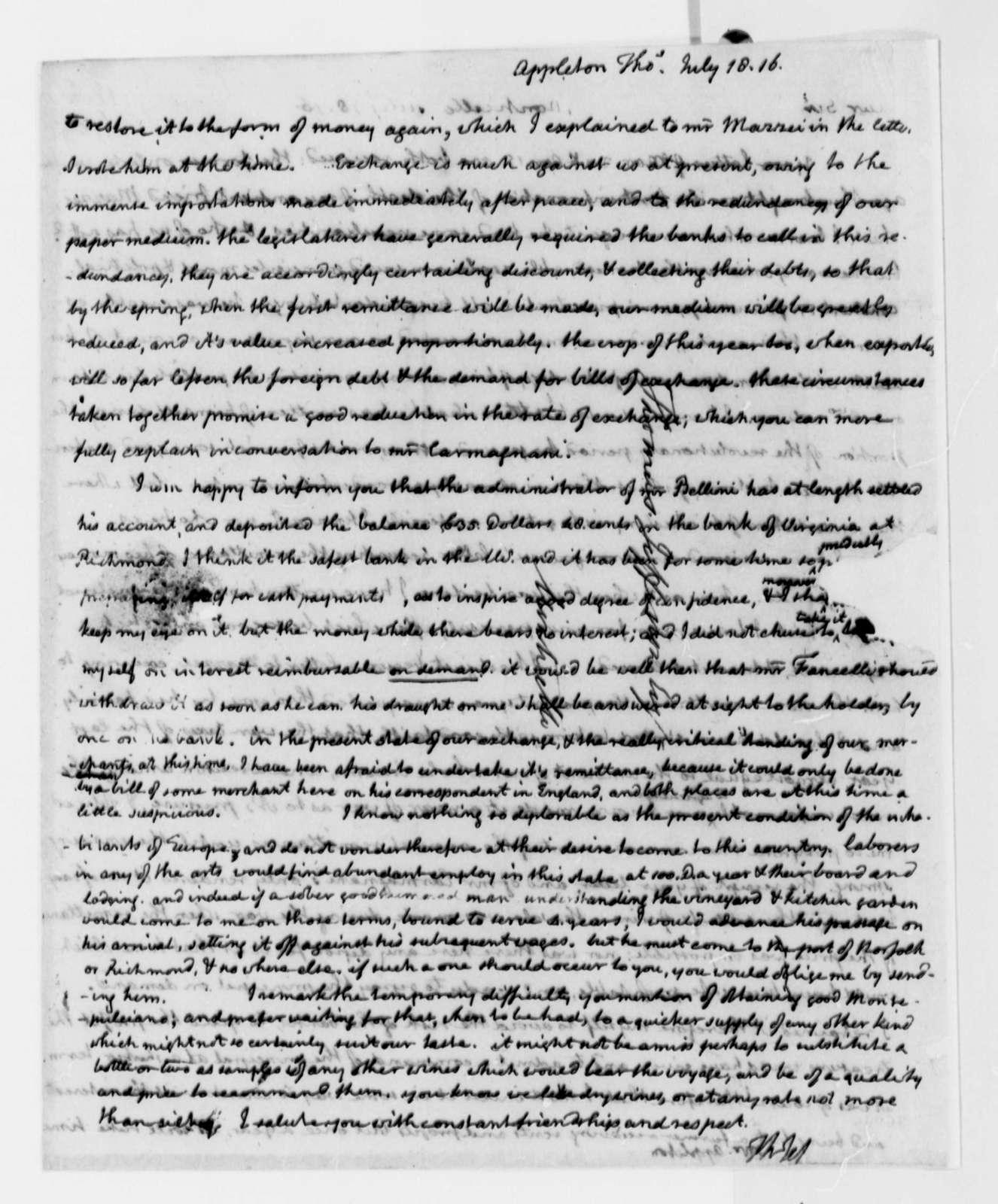 Thomas Jefferson to Thomas Appleton, July 18, 1816