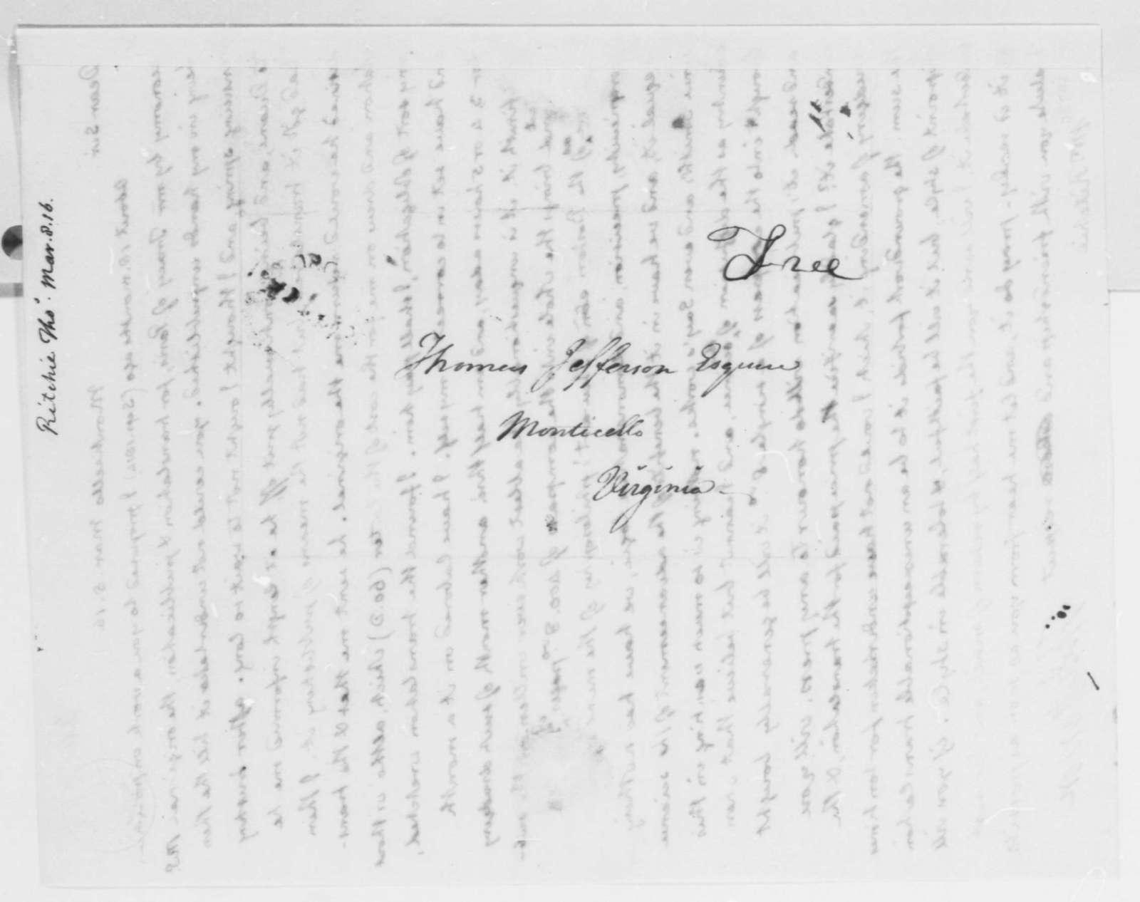 Thomas Jefferson to Thomas Ritchie, March 8, 1816