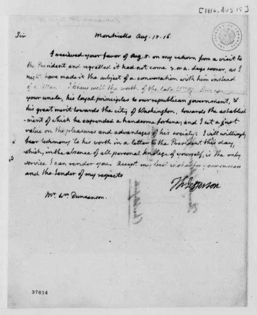 Thomas Jefferson to William Duncanson, August 15, 1816