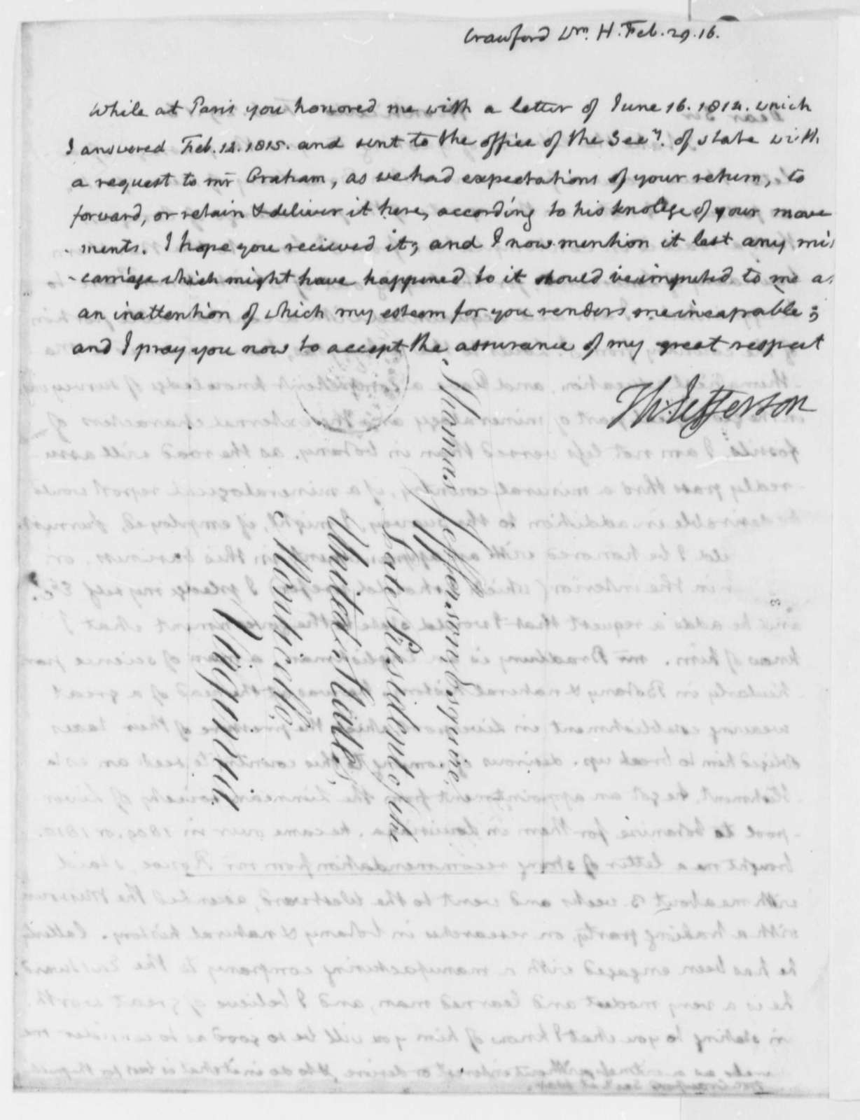 Thomas Jefferson to William H. Crawford, February 29, 1816