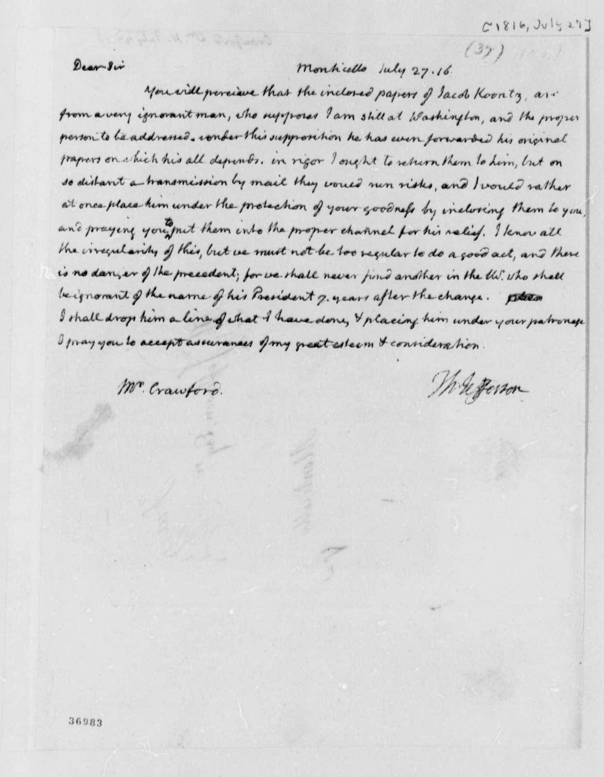 Thomas Jefferson to William H. Crawford, July 27, 1816