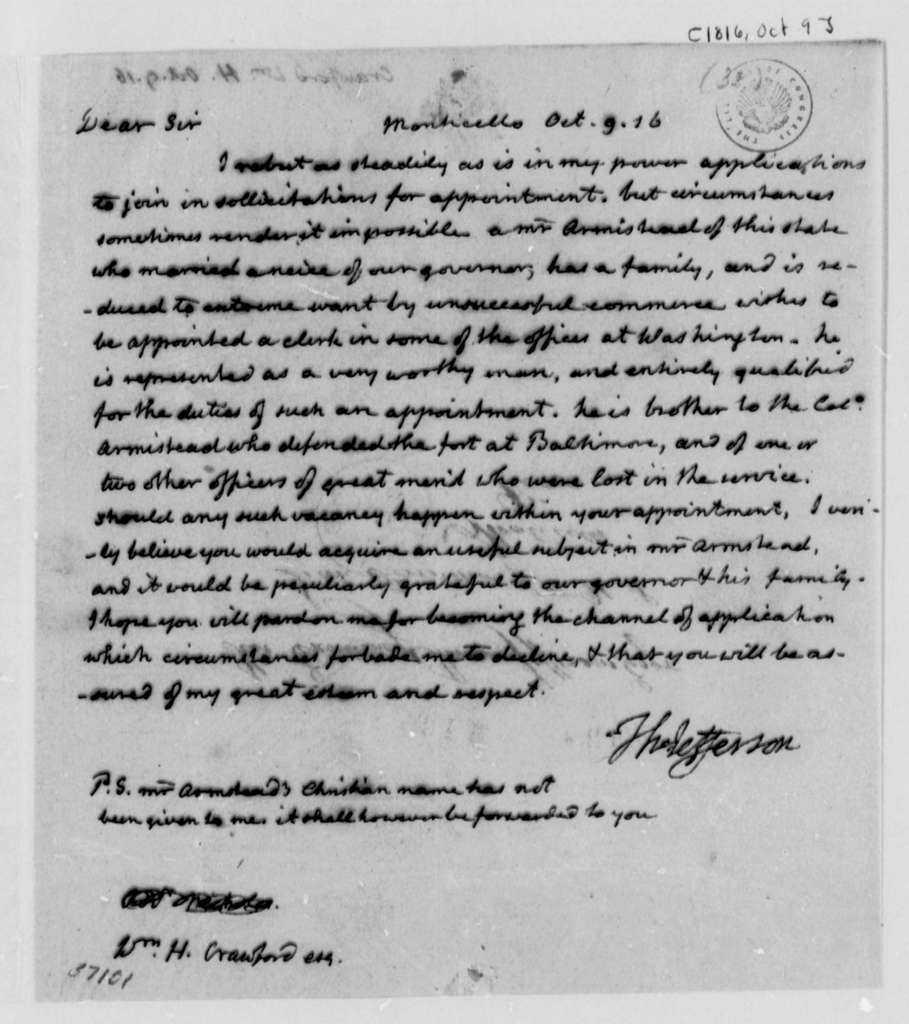 Thomas Jefferson to William H. Crawford, October 9, 1816