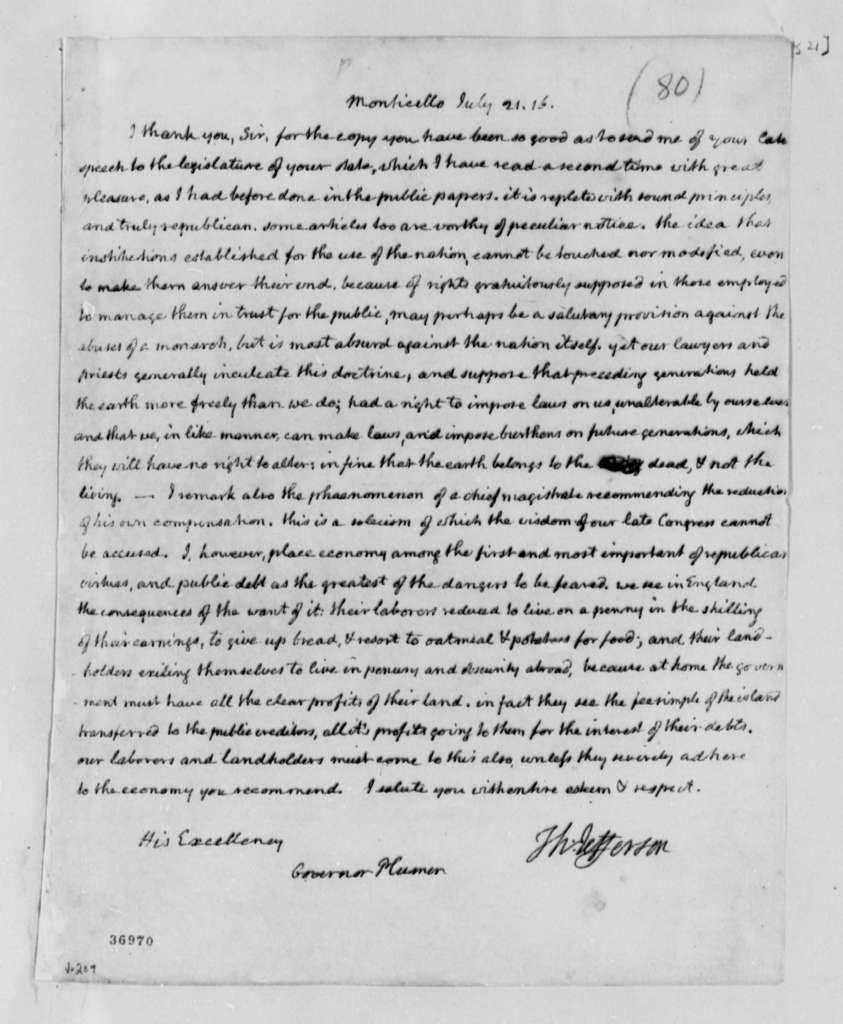 Thomas Jefferson to William Plumer, July 21, 1816