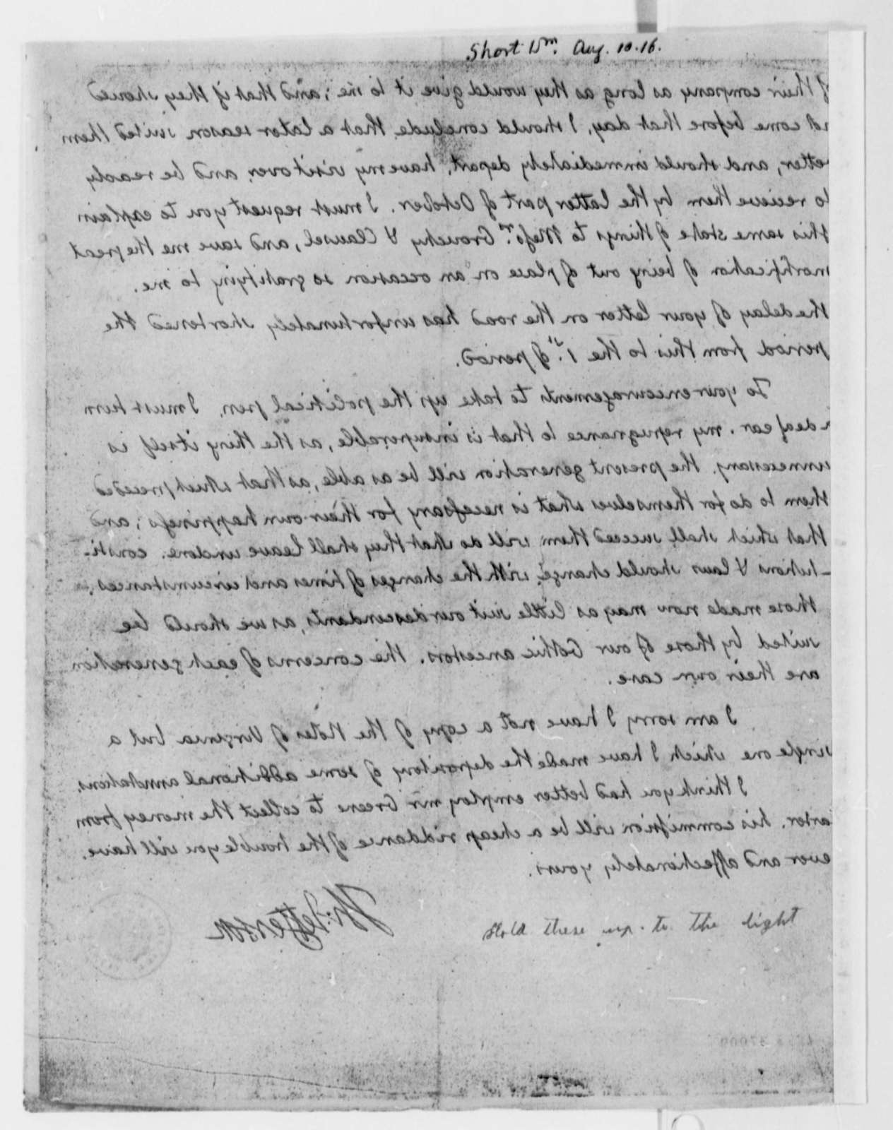Thomas Jefferson to William Short, August 10, 1816
