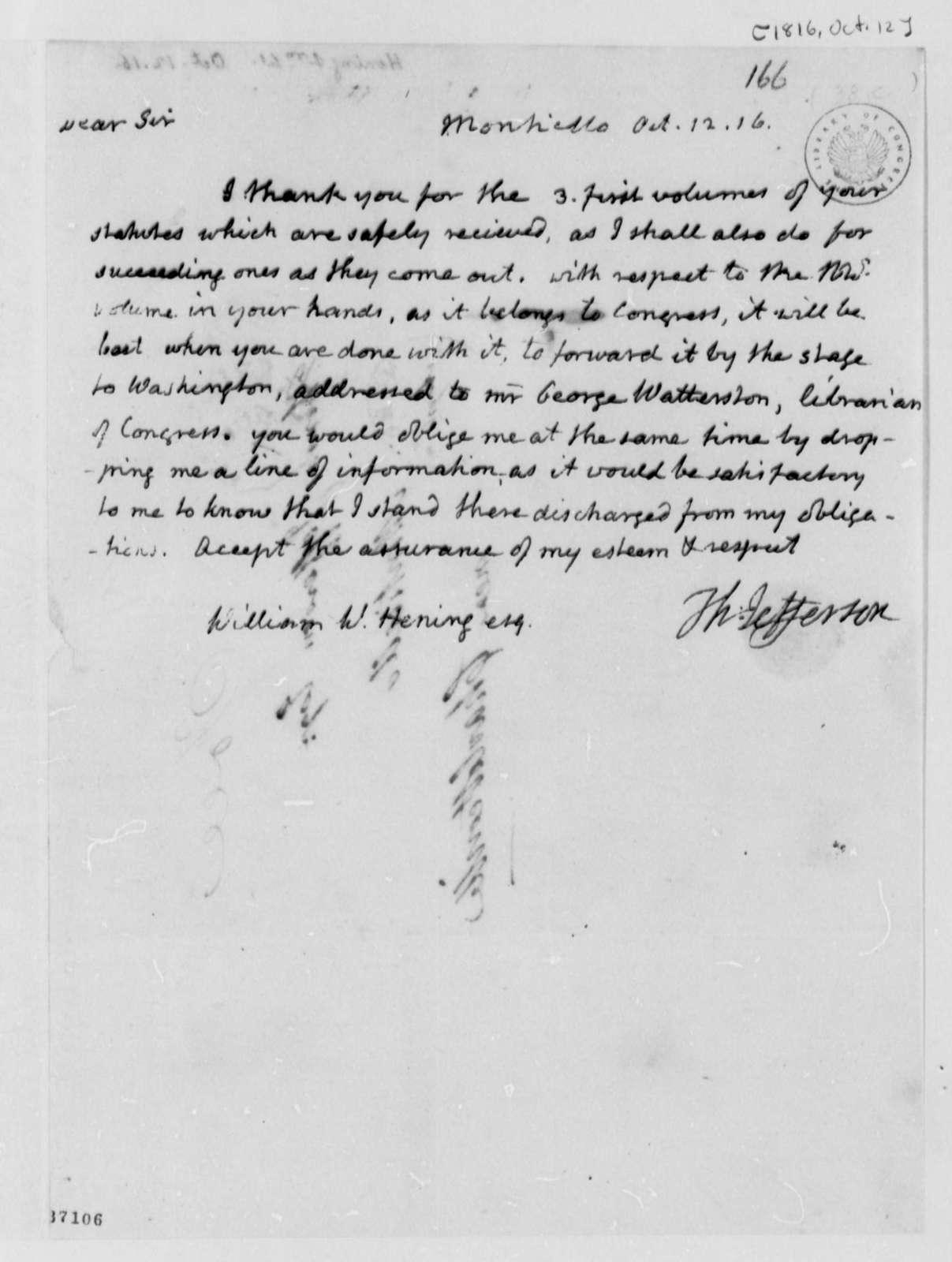 Thomas Jefferson to William Waller Hening, October 12, 1816