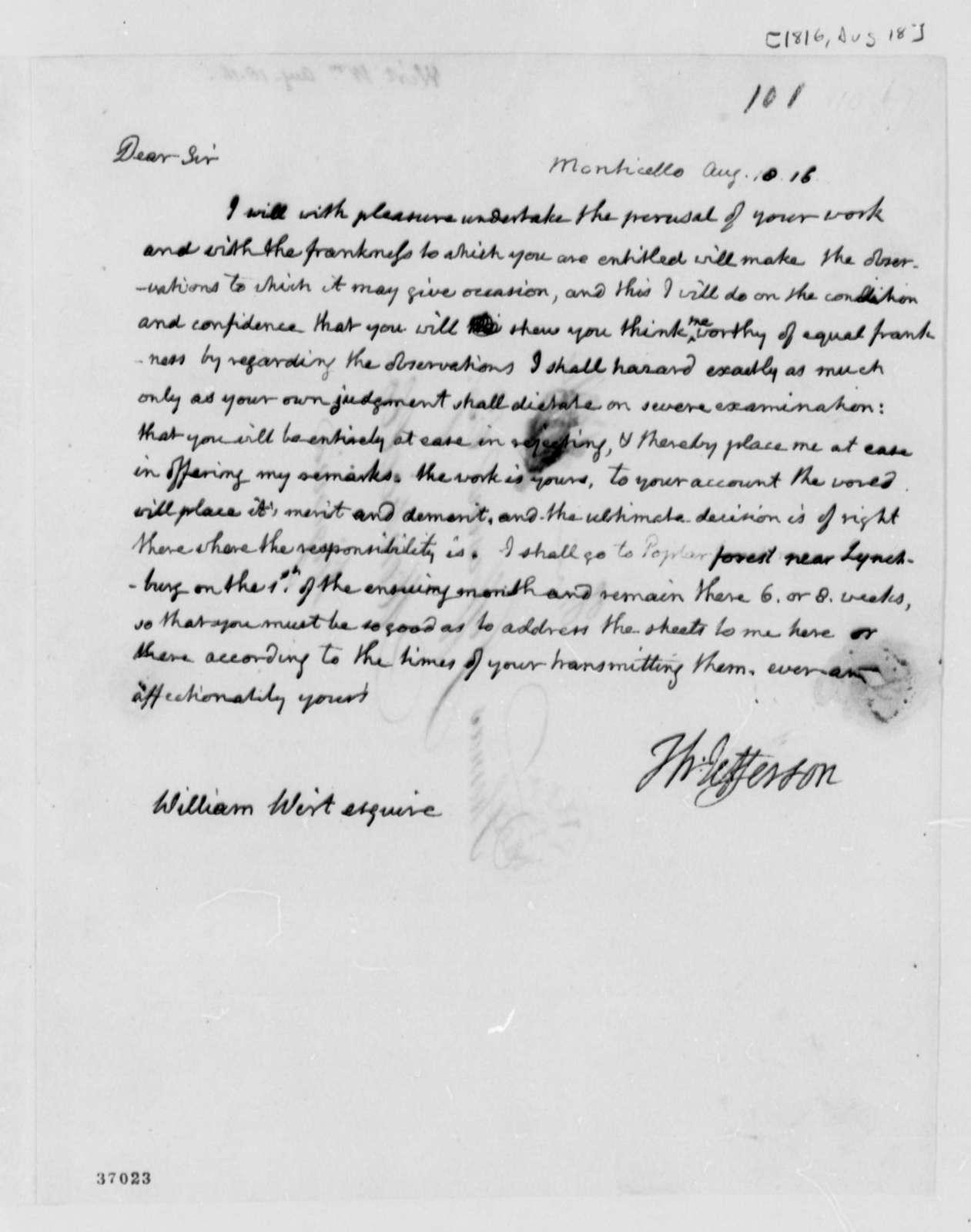 Thomas Jefferson to William Wirt, August 18, 1816