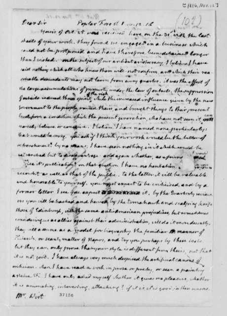Thomas Jefferson to William Wirt, November 12, 1816