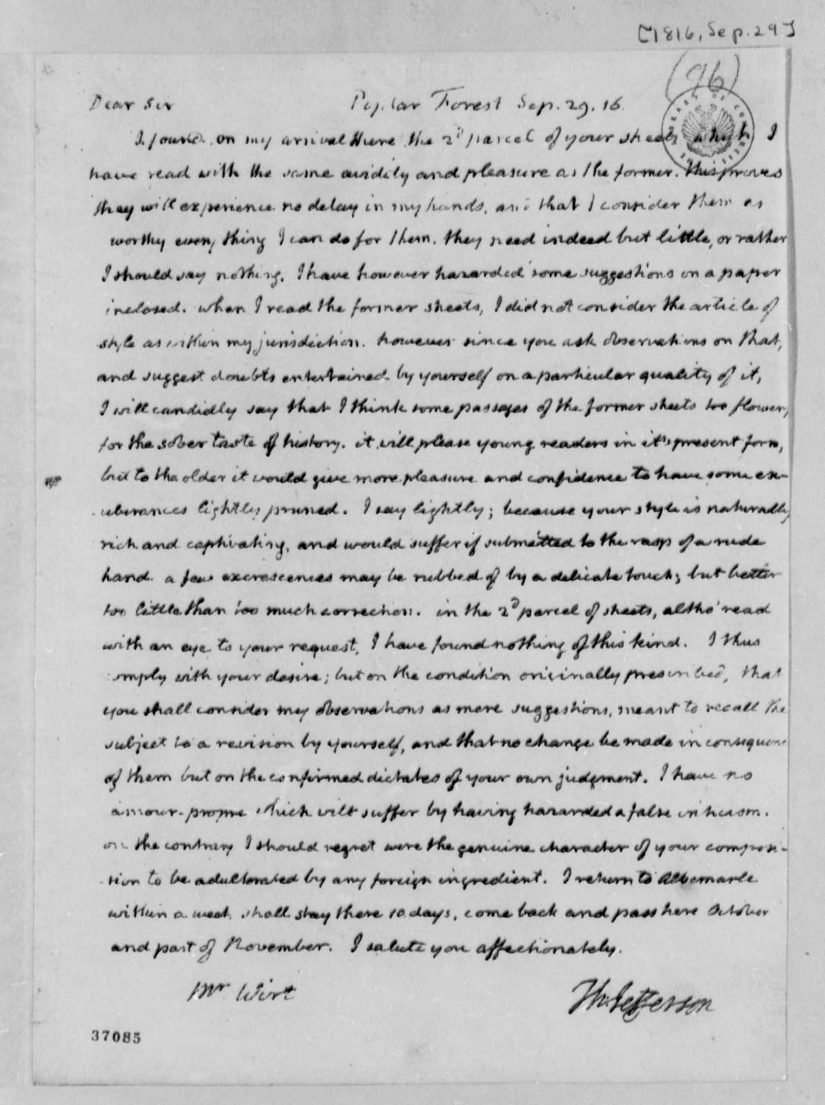 Thomas Jefferson to William Wirt, September 29, 1816, with Comments