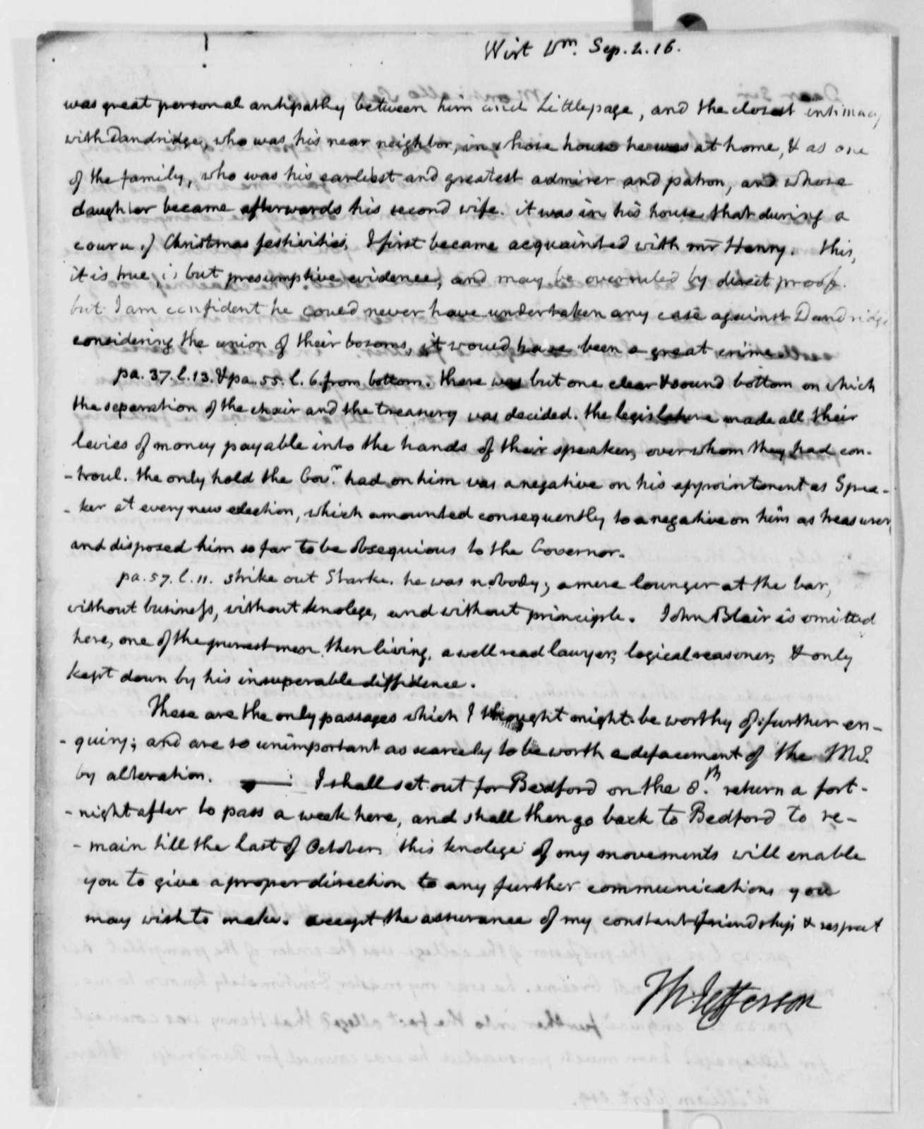 Thomas Jefferson to William Wirt, September 4, 1816