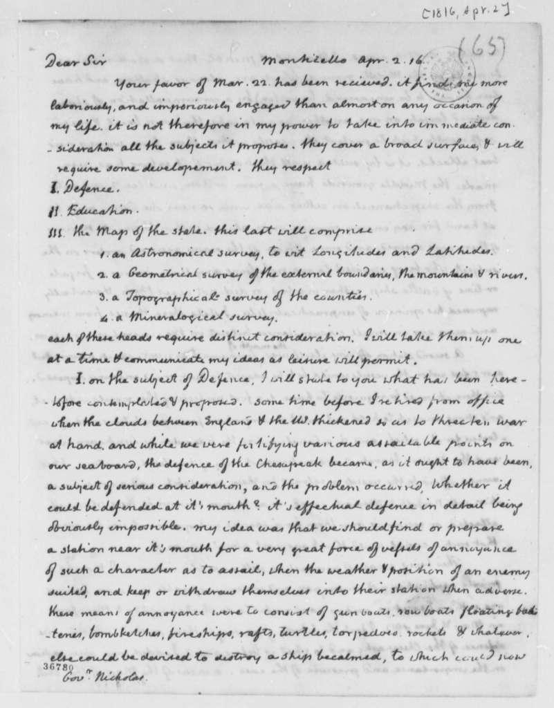 Thomas Jefferson to Wilson Cary Nicholas, April 2, 1816