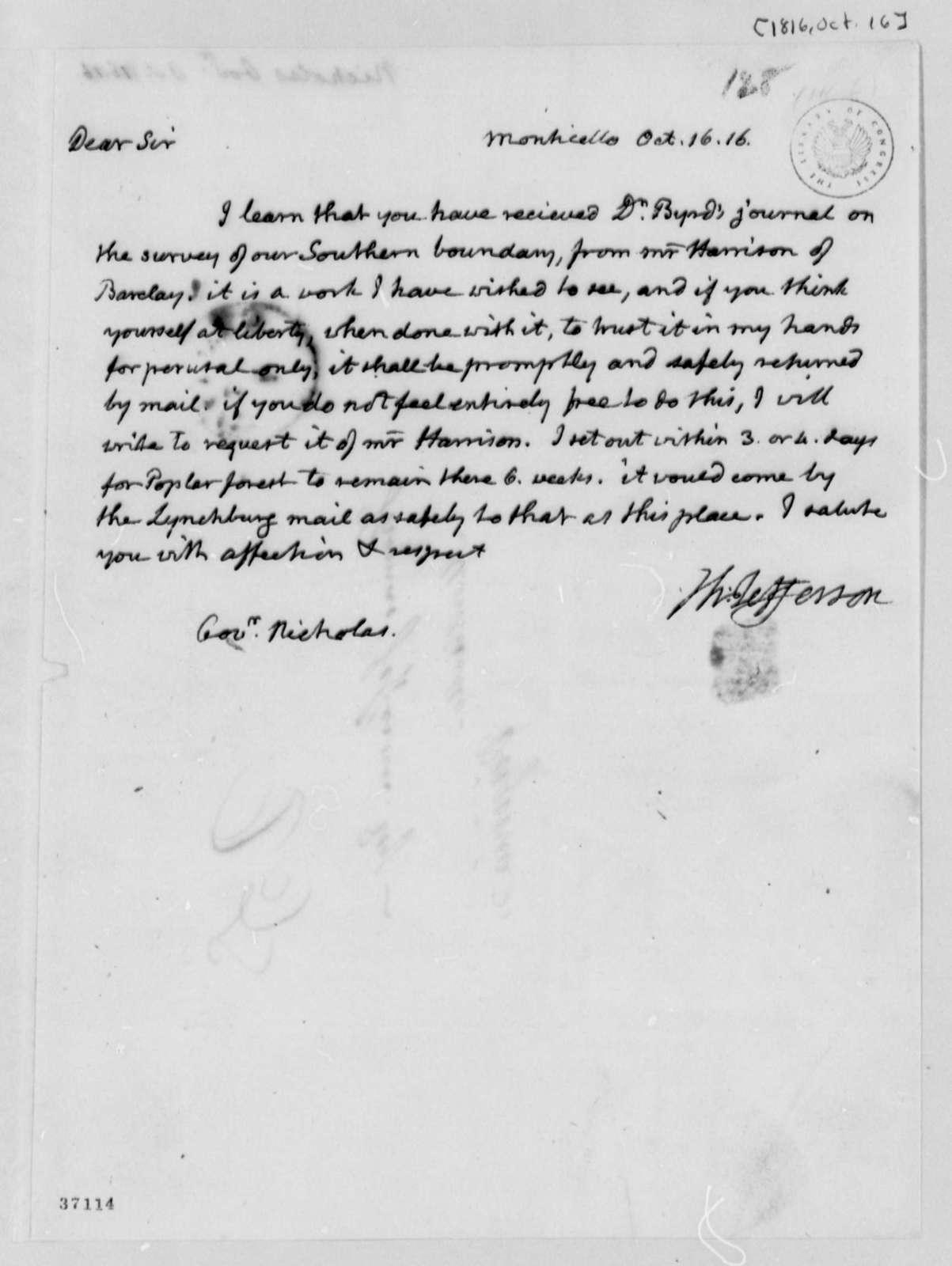 Thomas Jefferson to Wilson Cary Nicholas, October 16, 1816