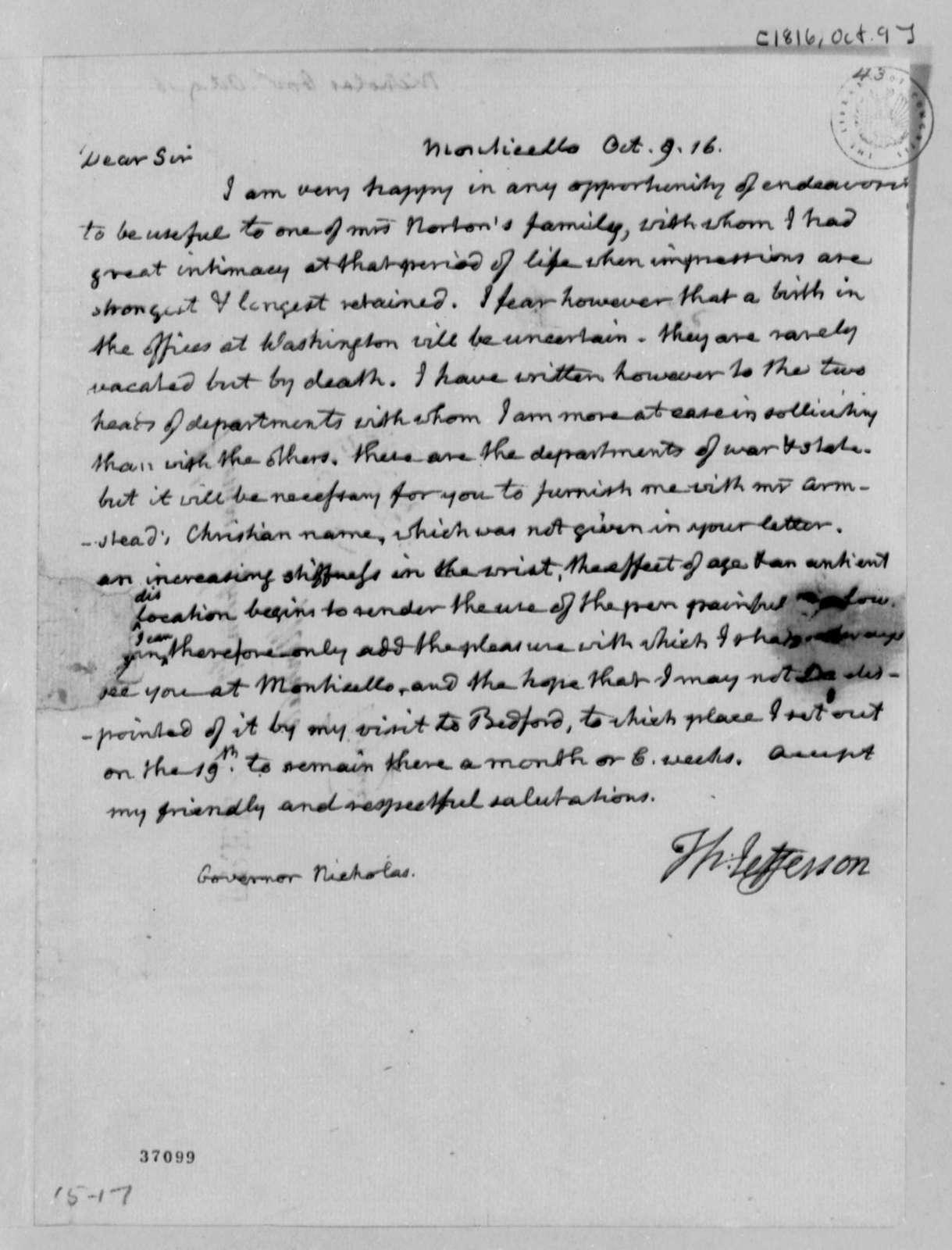 Thomas Jefferson to Wilson Cary Nicholas, October 9, 1816
