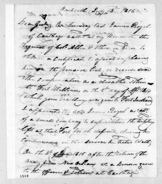 Thomas Johnson to Andrew Jackson, July 18, 1816