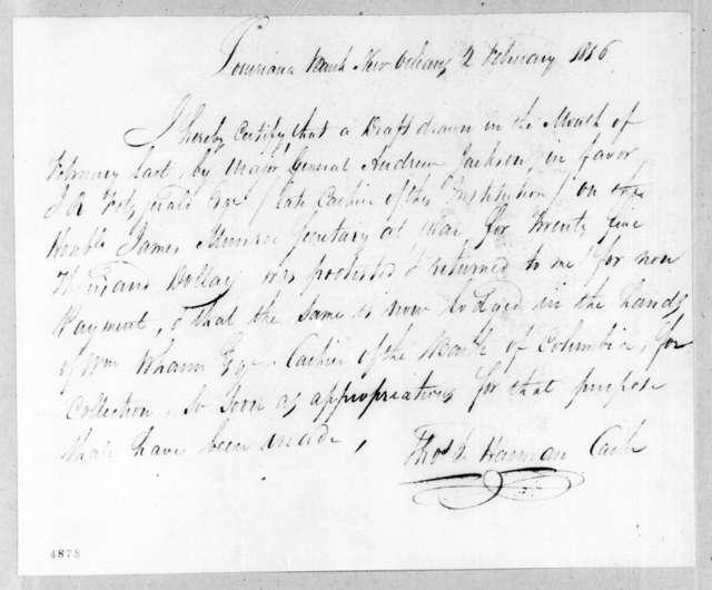 Thomas L. Harman, February 2, 1816
