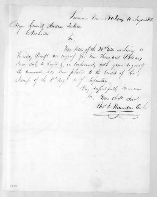 Thomas L. Harman to Andrew Jackson, August 10, 1816
