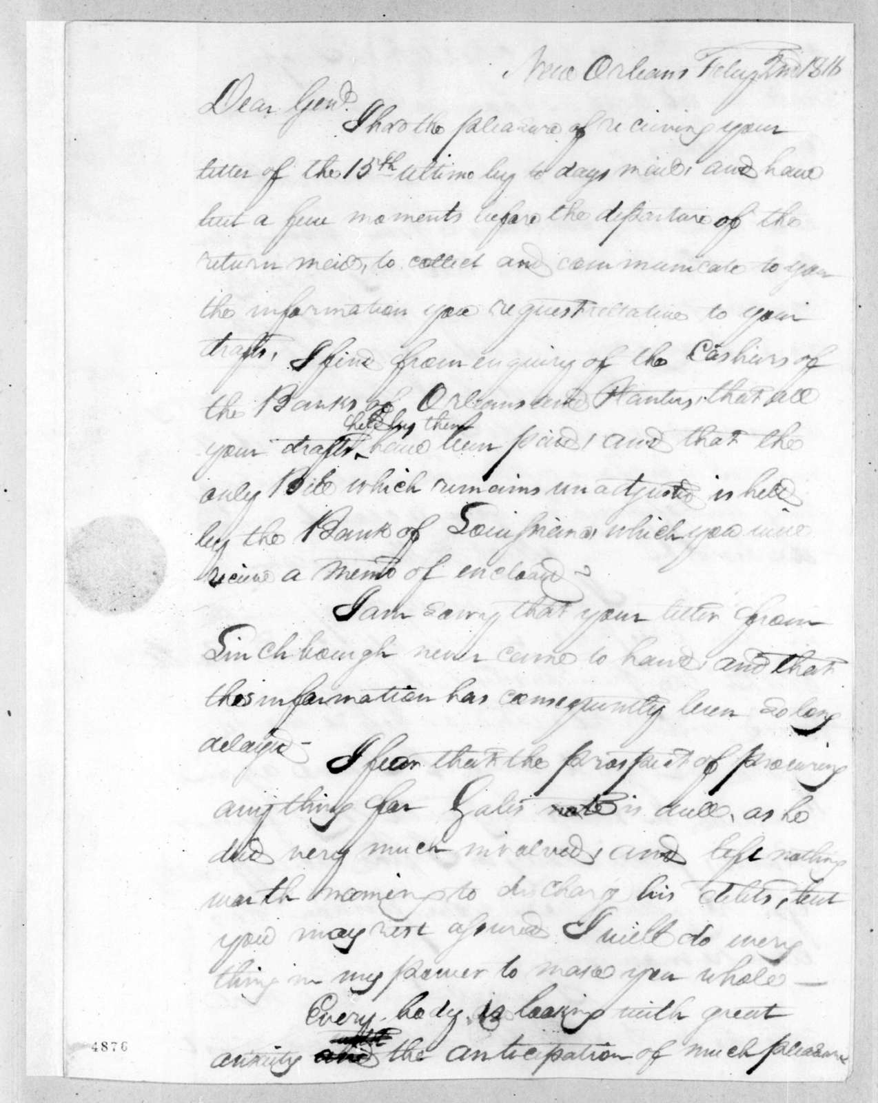 Thomas Langford Butler to Andrew Jackson, February 2, 1816