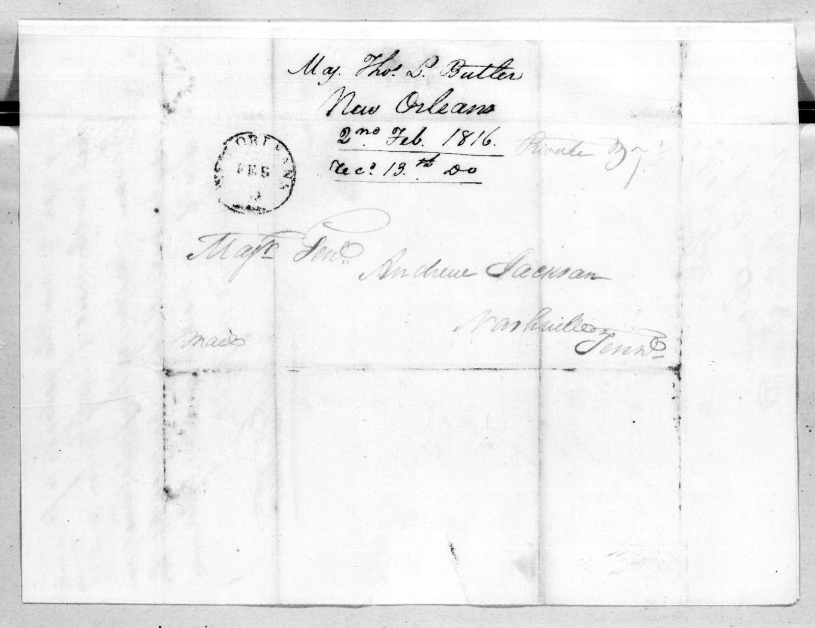 Thomas Langford Butler to Andrew Jackson, February 2, 1816