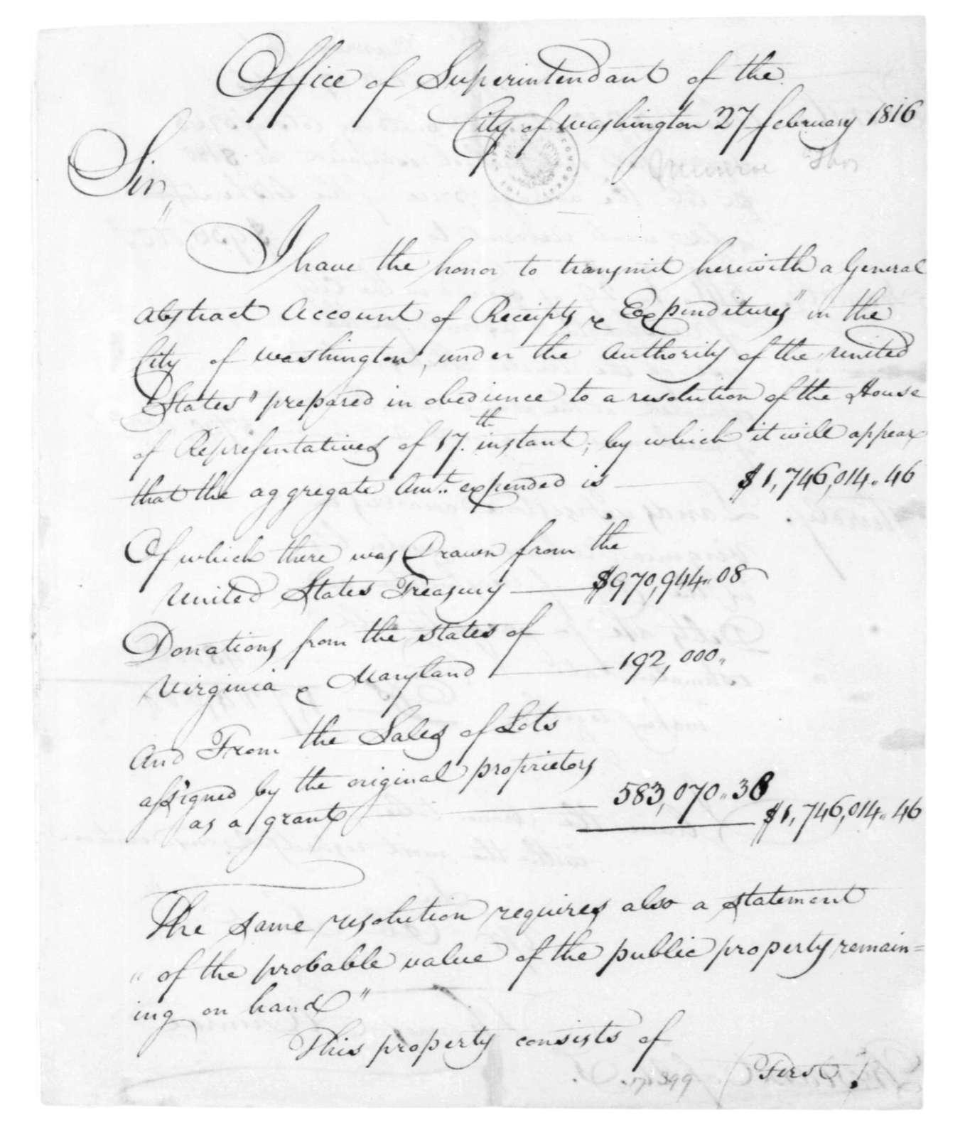 Thomas Munroe to James Madison, February 27, 1816.