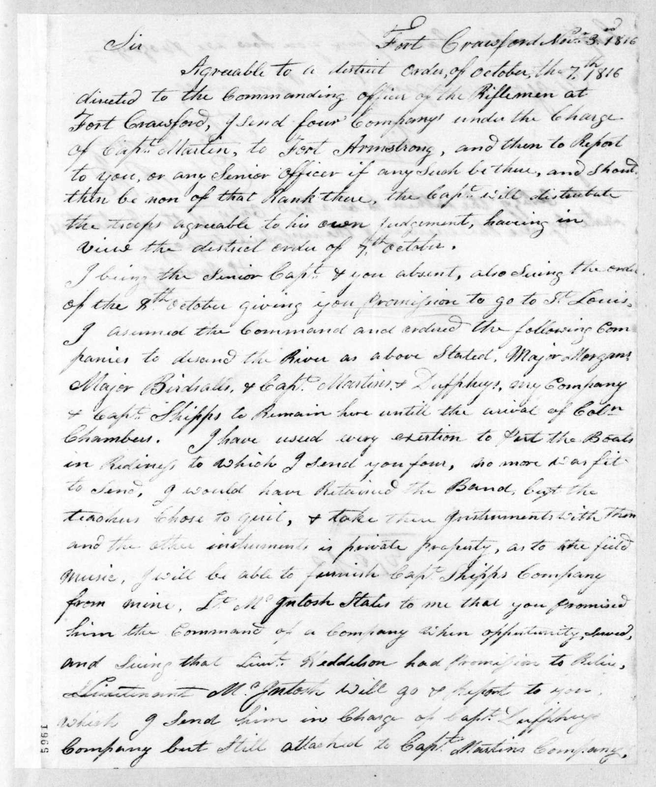 Thomas Ramsey to Willoughby Morgan, November 3, 1816