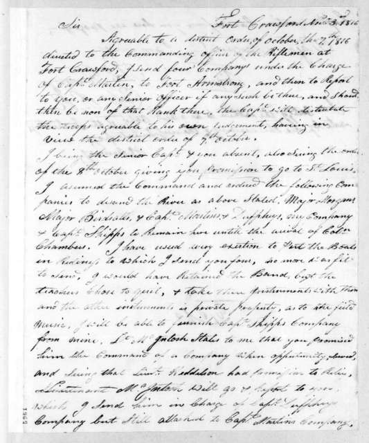 Thomas Ramsey to Willoughby Morgan, November 3, 1816