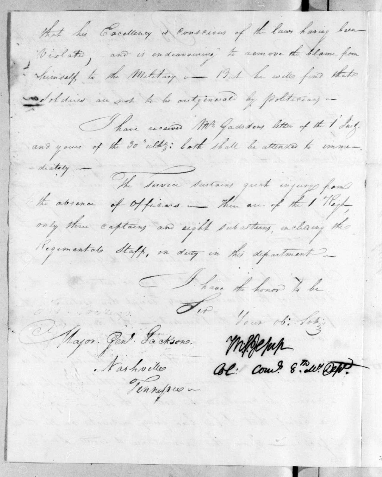 Thomas Sidney Jesup to Andrew Jackson, August 12, 1816