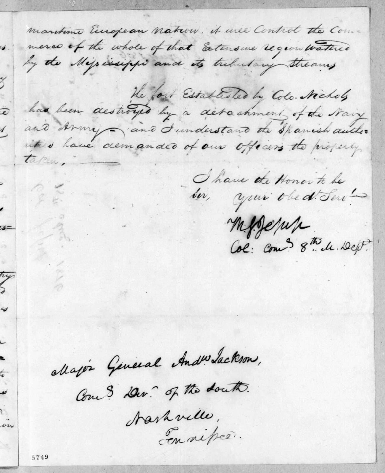 Thomas Sidney Jesup to Andrew Jackson, August 18, 1816