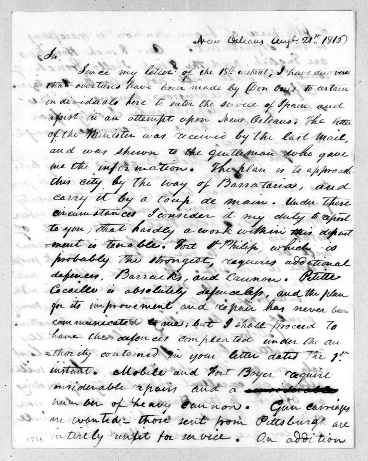 Thomas Sidney Jesup to Andrew Jackson, August 21, 1816