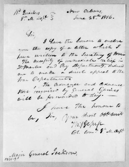 Thomas Sidney Jesup to Andrew Jackson, June 25, 1816