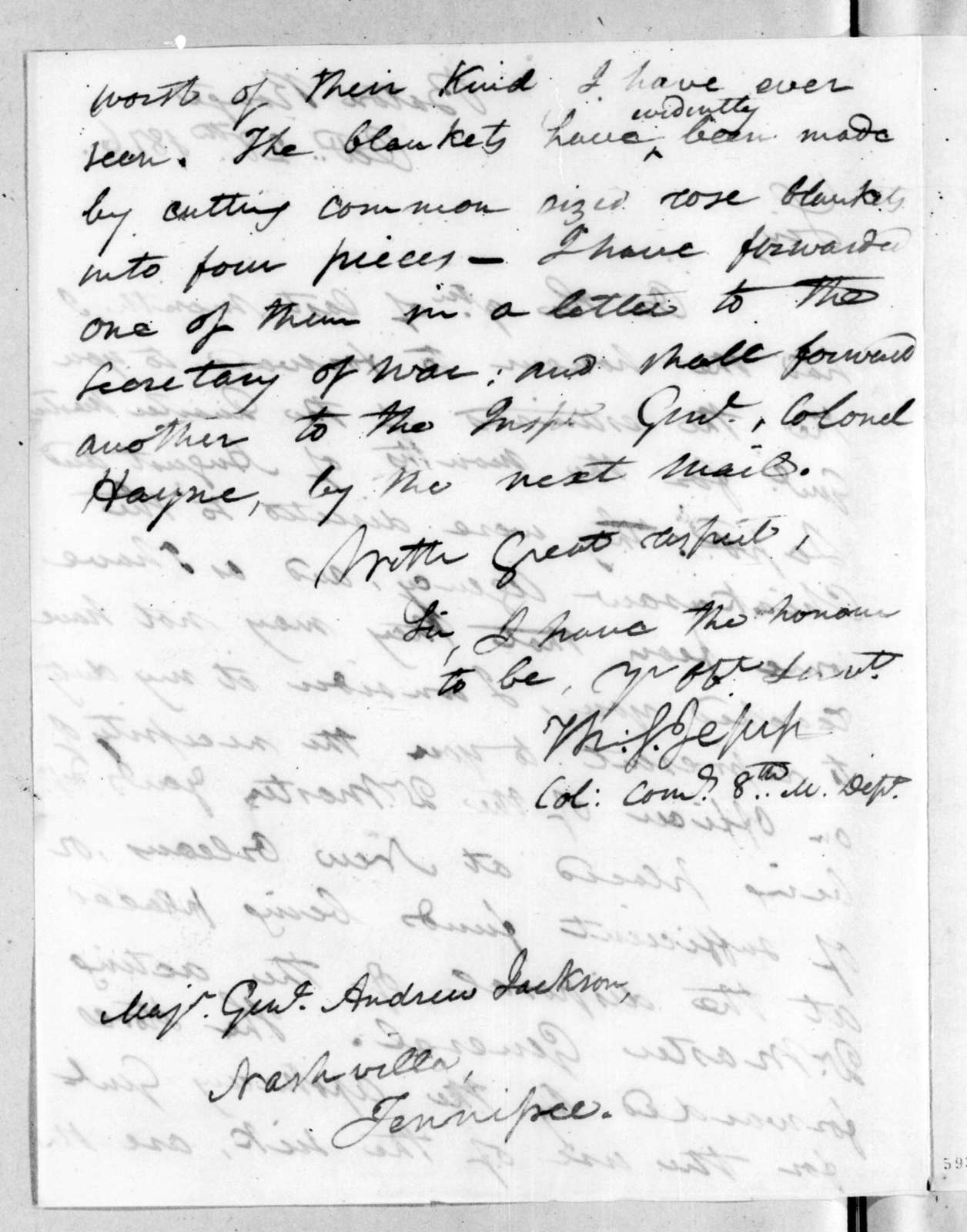 Thomas Sidney Jesup to Andrew Jackson, October 28, 1816