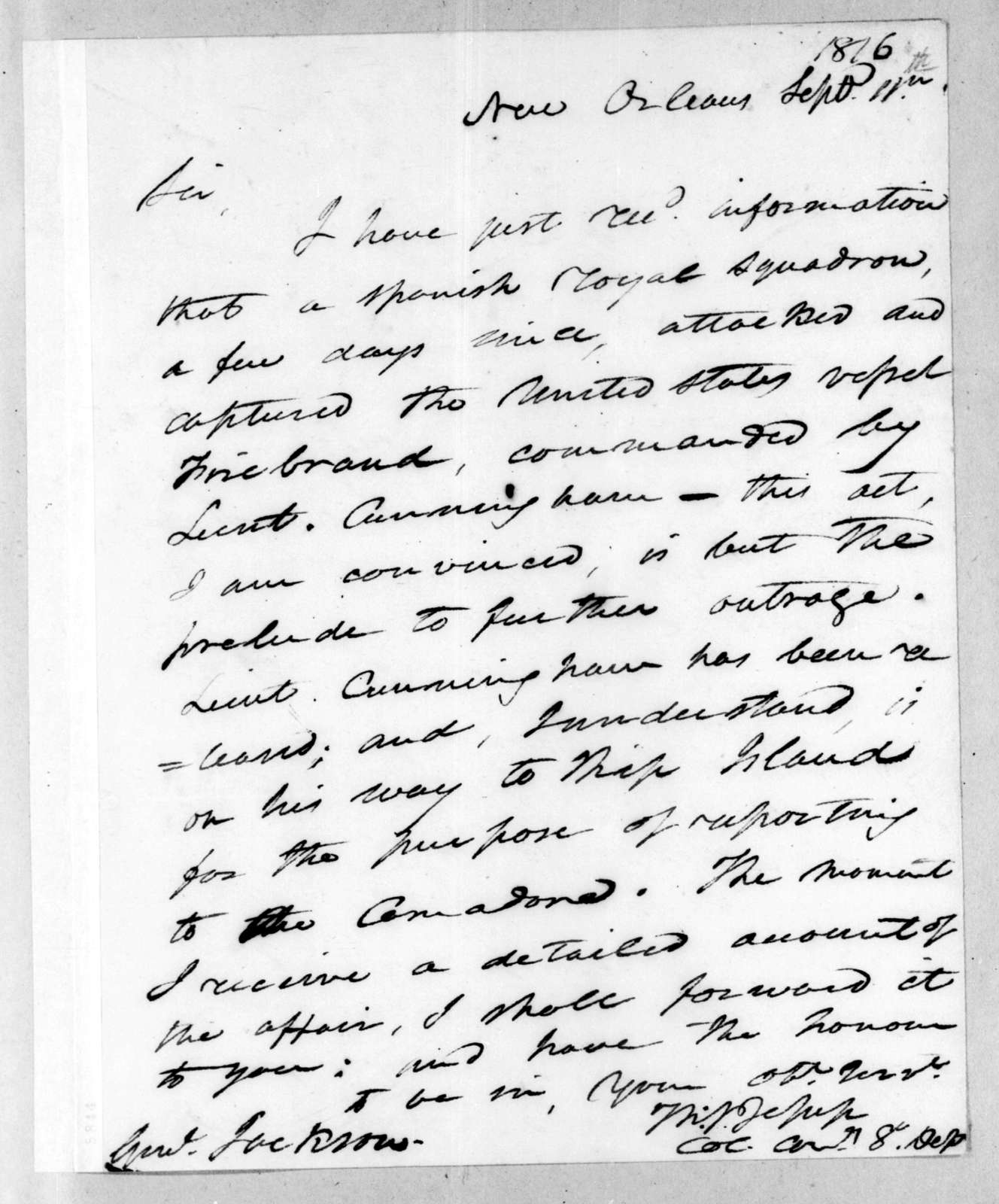 Thomas Sidney Jesup to Andrew Jackson, September 11, 1816